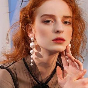 Boho Big Simulated Pearl Long Earrings Pearls Pin